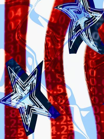 Numbers Superimposed on Neon Sign of Stars and Stripes--Photographic Print