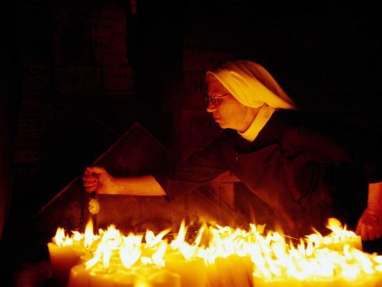 Nun Attending Candles at Stone Gate Shrine, Zagreb, City of Zagreb, Croatia-Richard I'Anson-Photographic Print