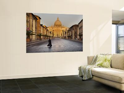 Nun Crossing Road in Front of St. Peter's Basilica-Will Salter-Giant Art Print
