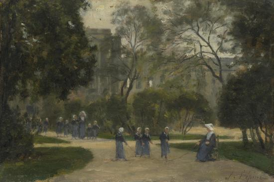 Nuns and Schoolgirls in the Tuileries Gardens, Paris, 1870S-1880S-Stanislas Lepine-Giclee Print