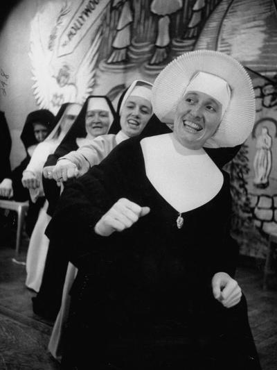 Nuns Putting on Original Musical Comedy at University of Notre Dame--Photographic Print