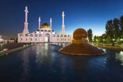 Nur Astana Mosque at Dusk, Astana, Kazakhstan, Central Asia-Gavin Hellier-Photographic Print