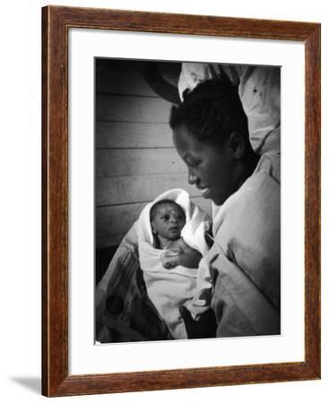 Nurse-Midwife Maude Callen Shows Smiling Alice Her Newborn Son-W. Eugene Smith-Framed Photographic Print