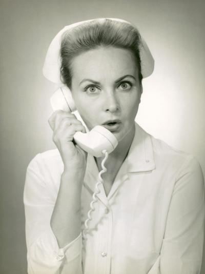 Nurse on Telephone-George Marks-Photographic Print
