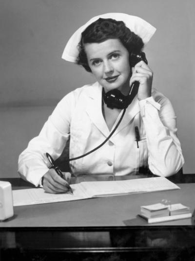 Nurse on the Phone-George Marks-Photographic Print