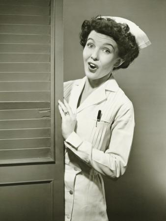 Nurse Peeping Trough Opened Doors-George Marks-Photographic Print