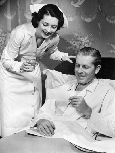 Nurse Taking Care of Sick Patient-George Marks-Photographic Print