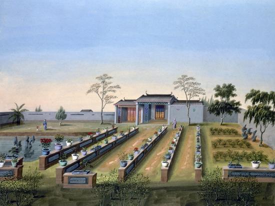 Nursery garden, China, c1820-1840-Unknown-Giclee Print