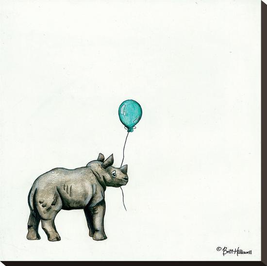 Nursery Rhino-Britt Hallowell-Stretched Canvas Print
