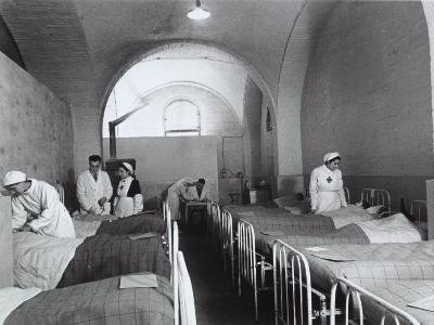Nurses and Doctors Visiting the Bedridden in the Room of a Hosptial During World War II-A^ Villani-Photographic Print