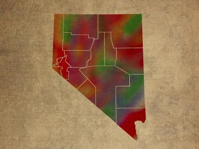 NV Colorful Counties-Red Atlas Designs-Giclee Print