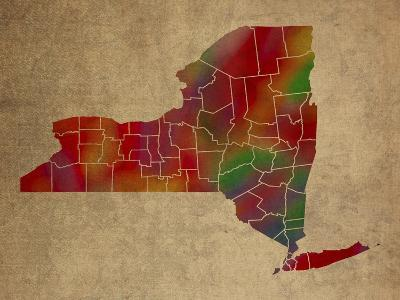 NY Colorful Counties-Red Atlas Designs-Giclee Print