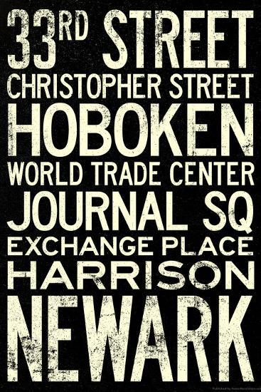 NY/NJ PATH Train Stations Vintage RetroMetro Travel Poster--Poster
