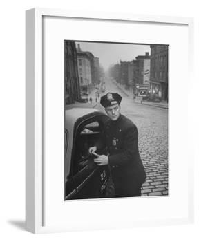 Ny Patrolman James Murphy Standing by His 23 Precinct Squad Car on Street of His East Harlem Beat-Tony Linck-Framed Photographic Print
