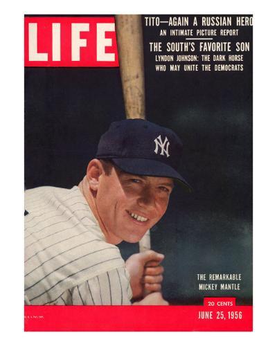 NY Yankee Slugger Mickey Mantle, June 25, 1956--Premium Photographic Print