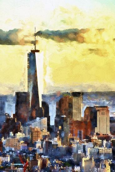 NYC Fiery Sunset-Philippe Hugonnard-Giclee Print