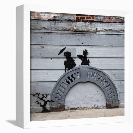 NYC Japanese Bridge-Banksy-Framed Stretched Canvas Print