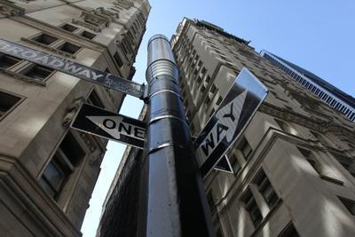 NYC Lower Broadway Looking Up-Robert Goldwitz-Photographic Print