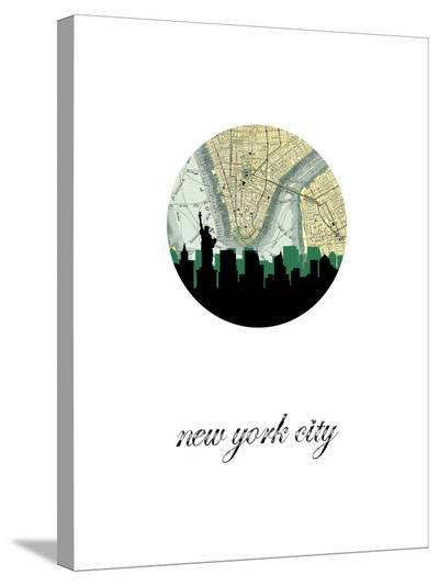 NYC Map Skyline-Paperfinch 0-Stretched Canvas Print