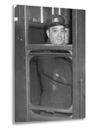 Nyc Mayor Fiorello Laguardia Wearing Motorman's Cap and Looking Out Window on Subway