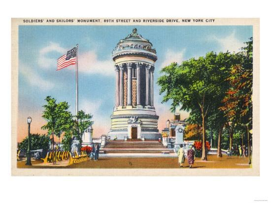 NYC, New York - 89th St & Riverside Drive Soldiers' & Sailors' Monument-Lantern Press-Art Print
