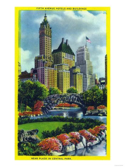NYC, New York - Central Park Plaza View of 5th Ave Hotels and Bldgs-Lantern Press-Art Print