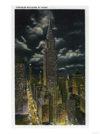 NYC, New York - Chrysler Building at Night No. 2-Lantern Press-Art Print