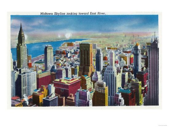 NYC, New York - Midtown Skyline View towards East River-Lantern Press-Art Print
