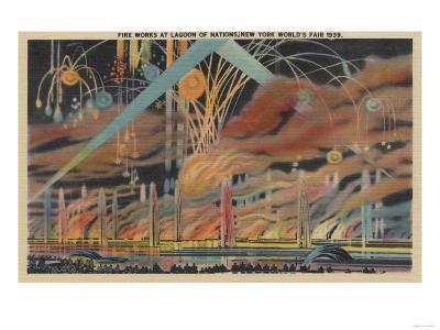 NYC, NY - Fireworks at Lagoon of Nations Worlds Fair-Lantern Press-Art Print