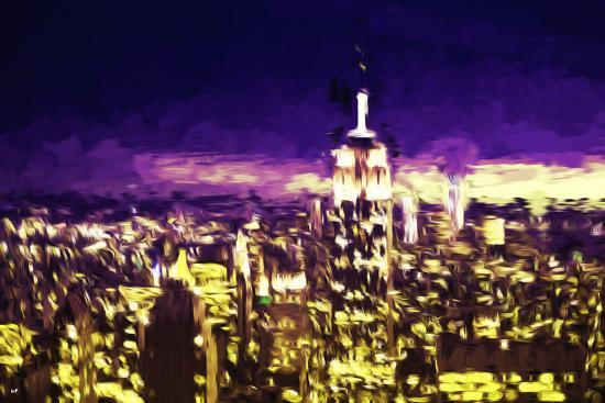 NYC Purple Sunset II - In the Style of Oil Painting-Philippe Hugonnard-Giclee Print