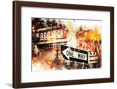 NYC Watercolor Collection - Broadway One Way-Philippe Hugonnard-Framed Art Print
