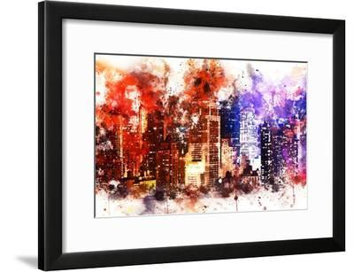 NYC Watercolor Collection - Manhattan by Night-Philippe Hugonnard-Framed Art Print
