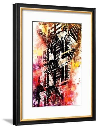 NYC Watercolor Collection - Stairs Shadows-Philippe Hugonnard-Framed Art Print