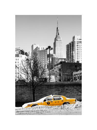 NYC Yellow Taxi Buried in Snow near the Empire State Building in Manhattan-Philippe Hugonnard-Photographic Print
