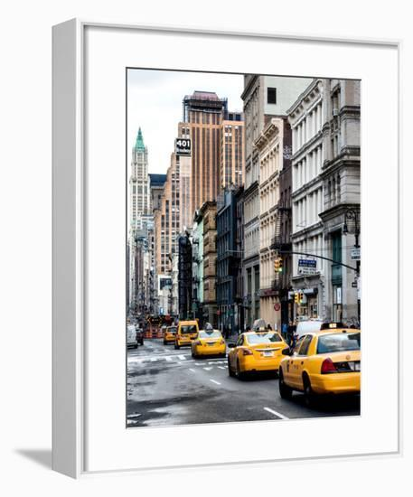 NYC Yellow Taxis / Cabs on Broadway Avenue in Manhattan - New York City - United States - USA-Philippe Hugonnard-Framed Art Print