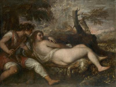 Nymph and Shepherd, 1570-75-Titian-Giclee Print