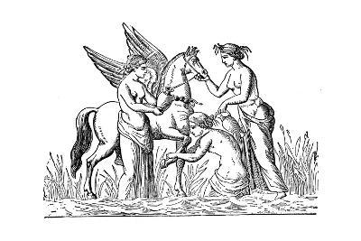 Nymphs Attending the Winged Horse, Pegasus--Giclee Print