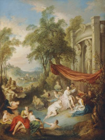 Nymphs Bathing at a Pool by a Loggia-Jean-Baptiste Joseph Pater-Giclee Print