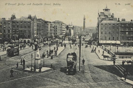 O'Connell Bridge and Sackville Street, Dublin--Photographic Print