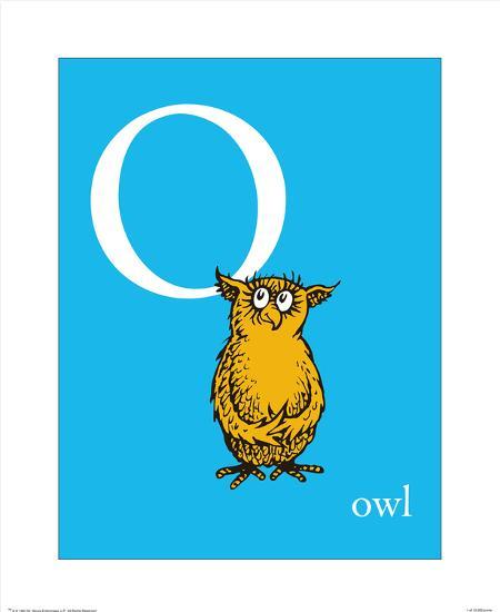O is for Owl (blue)-Theodor (Dr. Seuss) Geisel-Art Print