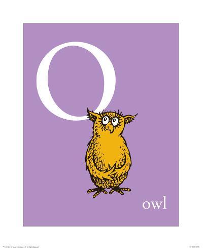 O is for Owl (purple)-Theodor (Dr. Seuss) Geisel-Art Print