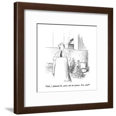 """O.K., I julienned the carrots and potatoes.  Now what?"" - New Yorker Cartoon-Charles Saxon-Framed Premium Giclee Print"