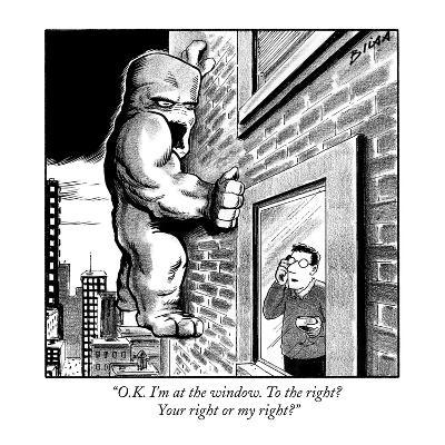 """""""O.K. I'm at the window. To the right? Your right or my right?"""" - New Yorker Cartoon-Harry Bliss-Premium Giclee Print"""