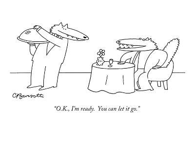 """""""O.K., I'm ready.  You can let it go."""" - New Yorker Cartoon-Charles Barsotti-Premium Giclee Print"""