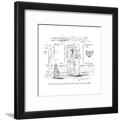 """O.K., trick or treat, please. Don't mess with me, lady?I'm on a sugar hig - New Yorker Cartoon-Barbara Smaller-Framed Premium Giclee Print"
