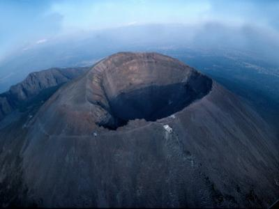 Aerial View over Mount Vesuvius Reveals its Gaping Crater