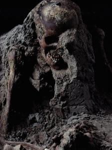 Skeleton Encased in Volcanic Ash by O. Louis Mazzatenta