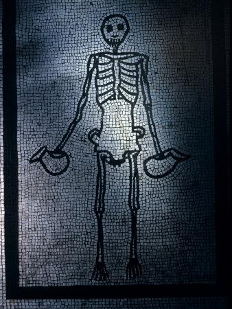 Skeleton Holds Wine Pitchers in This Ancient Mosaic from Pompeii