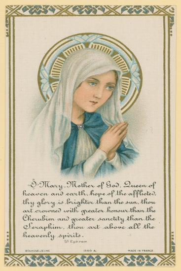 O Mary, Mother of God, Extract of Writing by Saint Ephrem--Giclee Print