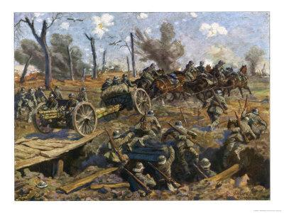 German Horse Artillery Moves Guns to New Positions Supported by Infantry